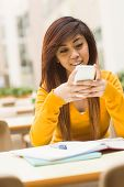 picture of canteen  - Beautiful female college student text messaging in outdoor canteen - JPG