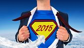 Businessman opening shirt in superhero style against cloud arrow