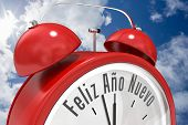 Feliz ano nuevo in red alarm clock against bright blue sky with clouds