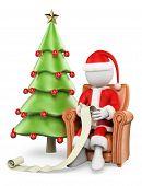 3D White People. Santa Claus On His Sofa Reading Wishlist
