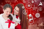 Mother and daughter with gift against red snow flake pattern design