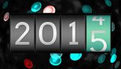 2014 changing to 2015 against digitally generated twinkling light design