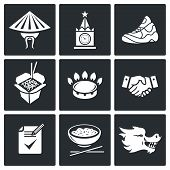 China And Russia Vector Icons Set