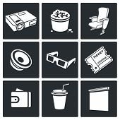 Cinema Hall Vector Icons Set