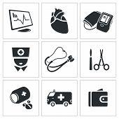 Heart Disease, Hospital Vector Icons Set