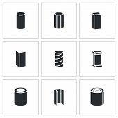 foto of ferrous metal  - Metal industry Vector Isolated Flat Icons collection on a white background - JPG