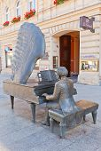 Monument To Polish Pianist Arthur Rubinstein In Lodz, Poland
