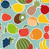 Fruit Seamless Pattern. The Image Of Fruits And Berries