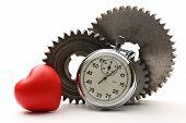 Steel Cogwheels, Heart And Stopwatch
