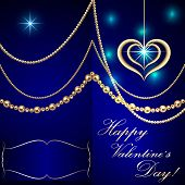 Vector Saint Valentine blue invitation card with hearts and golden jewelry