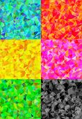 Set of six colorful abstract geometric background with triangular polygons.