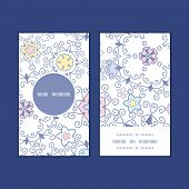 Vector ornamental abstract swirls vertical round frame pattern business cards set