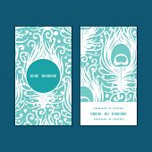 Vector soft peacock feathers vertical round frame pattern business cards set