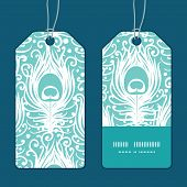 Vector soft peacock feathers vertical stripe frame pattern tags set