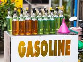 Gasoline On Whisky Bottles In Thailand