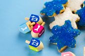 pic of hanukkah  - Hanukkah white and blue stars hand frosted sugar cookies - JPG