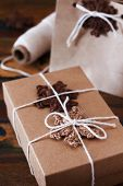 Brown Crochet Snowflakes For Christmas Decoration Of Gift Box And Package
