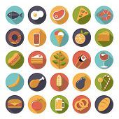 Food icons vector set. Collection of 25 flat design food and drink vector icons