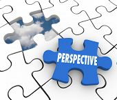 Perspective word on a puzzle piece to illustrate vision or creative ideas as a plan or solution