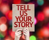 Tell Us Your Story card with colorful background with defocused lights