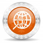 search orange icon, christmas button