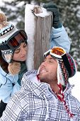Couple on skiing trip