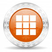 thumbnails grid orange icon, christmas button, gallery sign