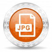 jpg file orange icon, christmas button