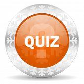 quiz orange icon, christmas button