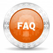 faq orange icon, christmas button