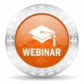 webinar orange icon, christmas button