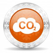 carbon dioxide orange icon, christmas button, co2 sign