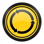 refresh icon, yellow logo, reload icon, yellow logo,
