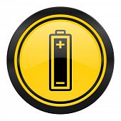 battery icon, yellow logo, power sign