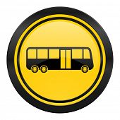bus icon, yellow logo, public transport sign