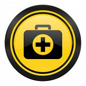 first aid icon, yellow logo, hospital icon, yellow logo,