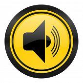 volume icon, yellow logo, music sign