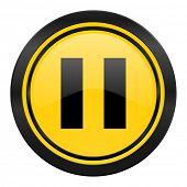 pause icon, yellow logo,