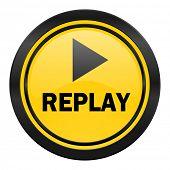 replay icon, yellow logo,