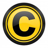 copyright icon, yellow logo,