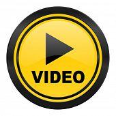video icon, yellow logo,