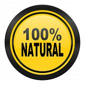 natural icon, yellow logo, 100 percent natural sign