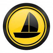 yacht icon, yellow logo, sail sign