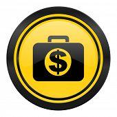 financial icon, yellow logo,