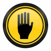 stop icon, yellow logo, hand sign