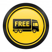 free delivery icon, yellow logo, transport sign