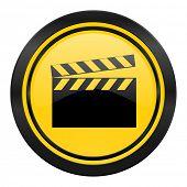 video icon, yellow logo, cinema sign