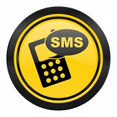 sms icon, yellow logo, phone sign