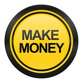 make money icon, yellow logo,
