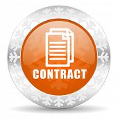 contract orange icon, christmas button